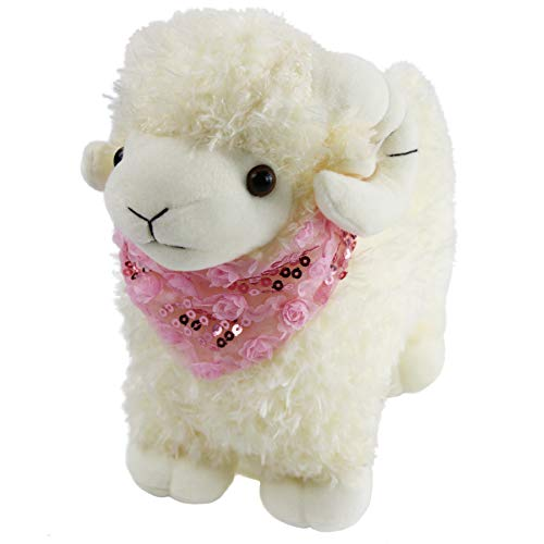 (Houwsbaby Sheep Stuffed Animals Cute Lamb Plush Toy with Shiny Pink Scarf Cuddly Soother for Baby Kids Gift on Children's Birthday Mother's Day Christmas Halloween Festive Occasion,)