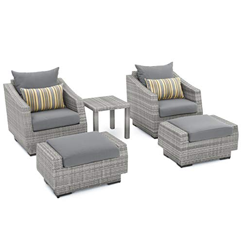 RST Brands Cannes 5-Piece Club Chair and Ottoman Set with Cushions, Charcoal Grey (Patio Outdoor Set Rst)