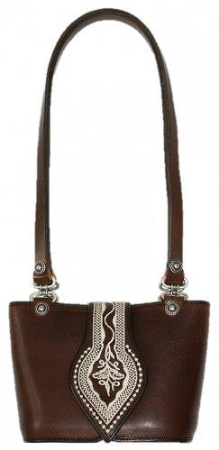 06a33a722cda Trachtentasche Dirndl-Tasche Handtasche Leder Federkiel-Optik Ledertasche  braun