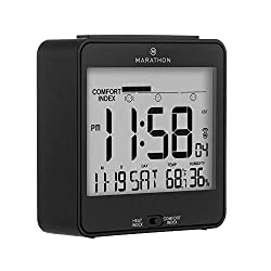 MARATHON CL030054BK Atomic Humidex Clock with Calendar, Temperature, Heat & Comfort Index - Backlight, Snooze and Loud Alarm. Batteries Included. Black Black, Blue and White