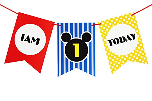 - Brcohco I'm 1 Today Cute High Chair Banner 1st Birthday for Baby First Birthday Party Decoration Supplies(Red,Blue,Yellow )