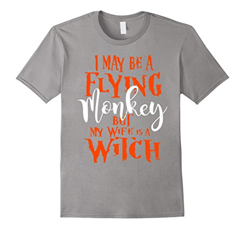 Men's I May Be a Flying Monkey But My Wife is a Witch T-Shirt. XL Slate Cauldron Witch Adult Costume
