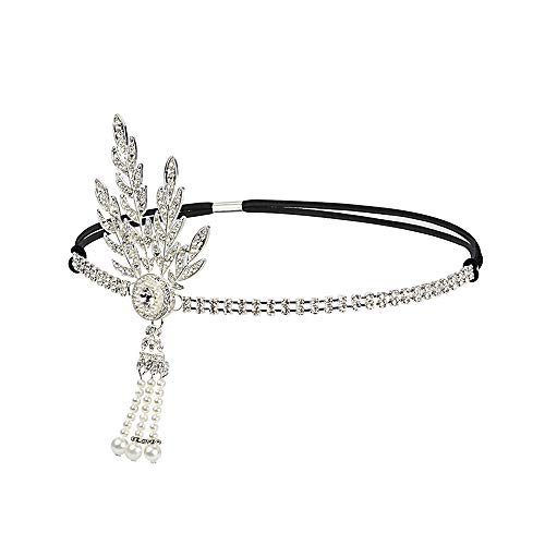 Vintage Flapper Headband Daisy Buchanan Costume Great Gatsby Leaf Tiara Headpiece 1920's Fancy Hair Accessory Silver -