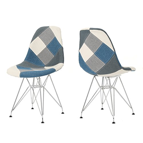 William Mid Century Blue Grey Patchwork Fabric Eiffel Chair (Set of 2)