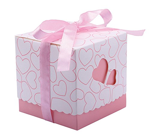 Box Candy Heart - DriewWedding Set of 50 Wedding Bridal Favor Gift Candy Boxes Case, Hollow Heart Shape Wrap Boxs Bag with Ribbon Party Table Decor Kit Treat Box Chocolate Candy Wrappers Holders (Pink/ 2