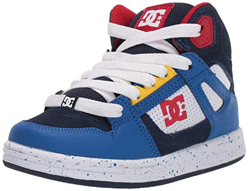 DC Boys' Pure HIGH-TOP SE Sneaker, Navy/RED, 1 M M US Little Kid (Boys High Top Shoes Dc)