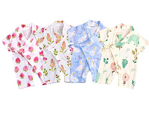 YOUNGER TREE Kimono Newborn Cotton Yarn Robe Infant Baby Japanese Pajamas Romper Easter Bunny Clothes (12-18 Months, Bear)]()
