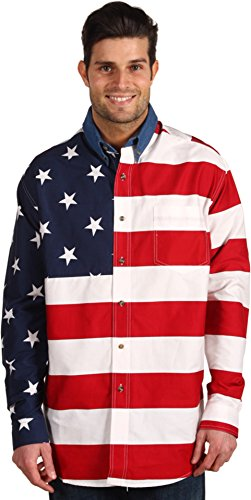 Roper Men's Flag Print Shirt White Large - Mens Print Western Shirt