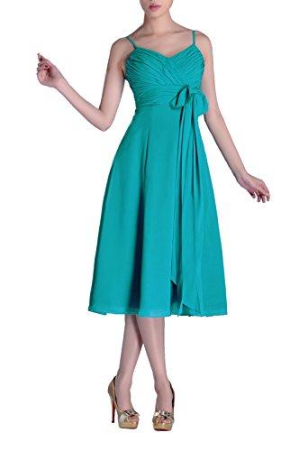 Natrual Junior A-line V-neck Strapless Knee Length Chiffon Bridesmaid Dress, Color Turquoise ,24W