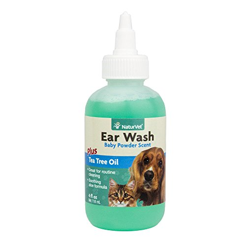 NaturVet Ear Wash Plus Tea Tree Oil for Dogs and Cats, 8 oz Liquid, Made in USA