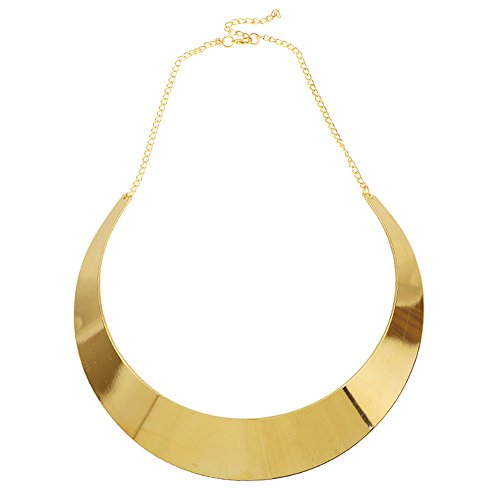 Half-Moon Collar Necklace Choker Women Unique Chunky Costume Curved Chain Alloy Mirror Finish Jewelry Golden