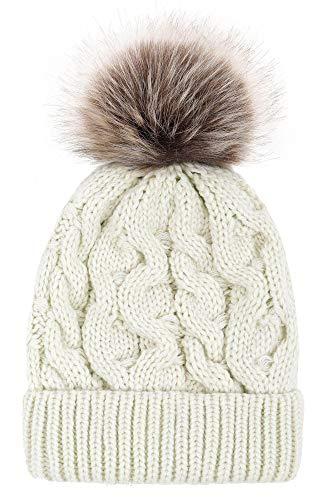 Halconia 2 Piece Winter Set - Faux Fur Pompom Knit Beanie & Matching Knit Scarf