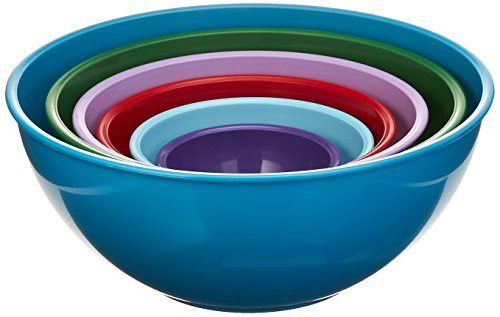 Gourmet Home Products 139714 Nested Polypropylene Mixing Bowl Set,6 Piece , Light Slate