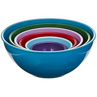 Gourmet Home Products Nested Polypropylene Mixing Bowl Set,6 Piece , Light Slate