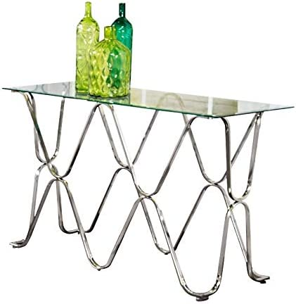 Furniture of America Hobbs Contemporary Metal Console Table in Chrome