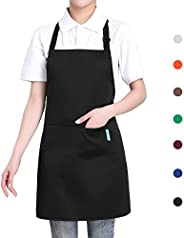 Esonmus Adjustable Kitchen Chef Apron, BBQ Restaurant Apron with 2 Pockets for Cooking Baking Gardening for Me