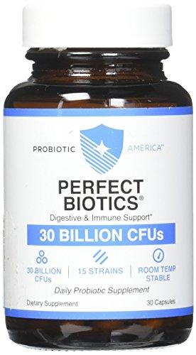 Probiotic America Perfect Biotics Digestive and Immune Support 30 billion CFUs 15 strains 30 capsule (1 Jar) by Probiotic America