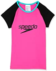 Speedo Girls' Logo Cap Sleeve Suntop