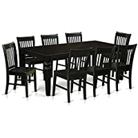 East West Furniture LGNO9-BLK-W 9 Piece Dining Table and 8 Wood Chairs, Black