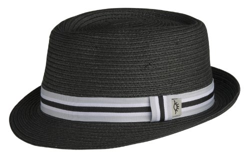 L/XL Black Fine Sewn Paper Braid, Pork Pie Style Hat with Striped Grosgrain Ribbon Band and Snap Up Brim (Sewn Braid Fedora Hat)