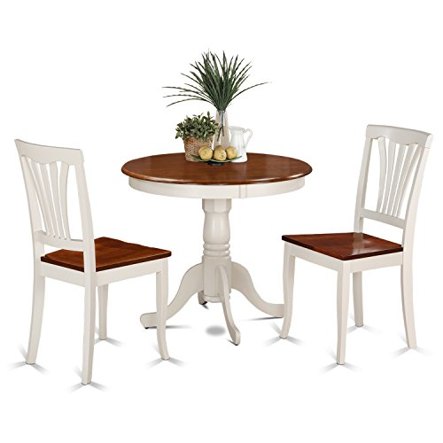 East West Furniture ANAV3-WHI-W 3-Piece Kitchen Table and Chairs Set, Buttermilk/Cherry - Round Table W/2 Chairs