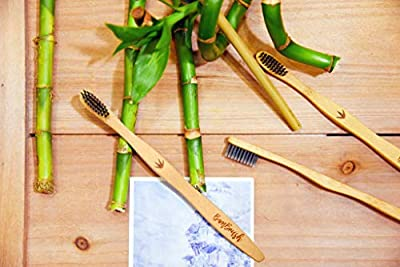 Premium Bamboo Toothbrush (Pack of 4) & Natural Drinking Straw (Pack of 2) with Cleaning Brush & Travel Pouch | Soft BPA Free Nylon Charcoal Bristles & Individually Marked Smooth Handle