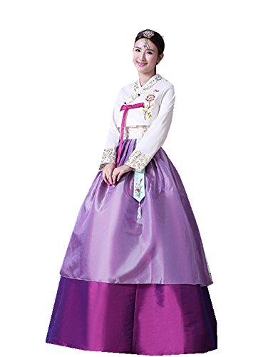 Traditional Korean Costume (Women's Korean Traditional Costume Long Sleeve Classic embroidery Hanbok Set)
