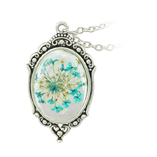 FM FM42 Vintage Style Blue Dried Flowers Encased in Simulated Resin Oval Pendant Necklace FN2038