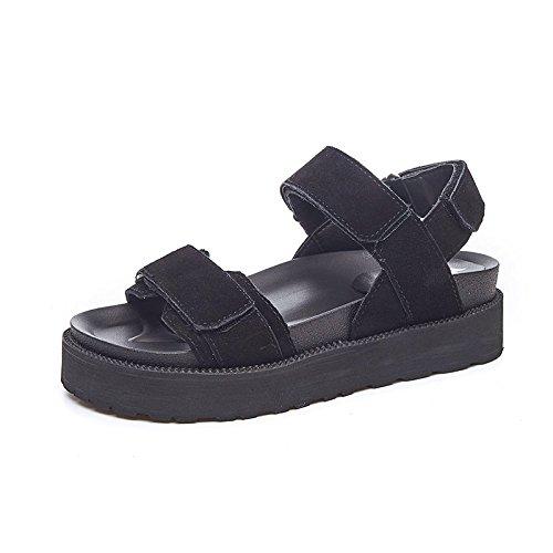 Negro Jokers Gtvernh Muffins Velcro Verano Fondo Grueso Sandalias Mujer Zapatos Rxq5w4z