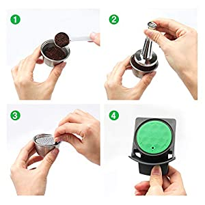 i Cafilas New Lid Stainless Steel Refillable Dolce Gusto Coffee Capsules Crema Reusable Coffee Pods Metal Permanent Coffee Holder Compatible for Nescafe Dolce Gusto (capsule in silver) (Color: 1 pcs capsule in silver)