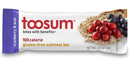 Chewy Granola Bar Calories (Toosum 100-Calorie, Gluten-Free Oatmeal Bars, Cranberry & Acai, 10 Count)