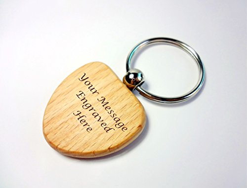 Personalised Wooden Keyring Gift, Engraved, Heart Shaped Wood Key Ring by Gifted Moments (Personalised Heart Key Ring)