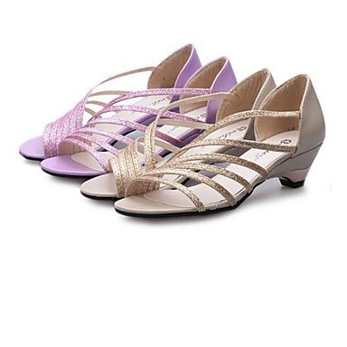 Zapatos del Silver Mujer PU Robusto Informal club Oro Exterior Plata Tacón LvYuan Vestido Sandalias Morado IxtqZn