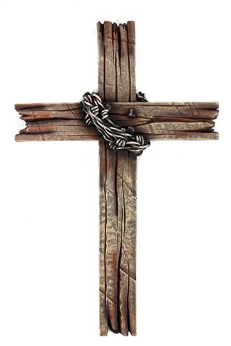 Mardel Rustic Wood-Look with Barbed Wire Wall Cross, Resin, 20 x 12 ()