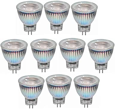 Bombillas LED Paquete de 10 Bombilla LED MR11 de 3W - AC/DC 12V-24V, GU4 COB Foco LED - Base GU4 equivalente a 25W - para el hogar, empotrado, acentuado, iluminación de riel (color, blanco cálido),