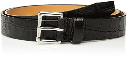 Circa Men's Handcrafted Italian Leather Crocodile Embossed Italian Leather Belt, Black, Size 38