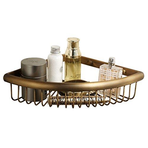 Corner Basket for Bathroom by MAMOLUX ACC| Solid Brass Shower Basket Shelf Tidy Rack Caddy Storage Organizer Antique Bronze Finish|Space Saving Toiletries/Cosmetics Holder Brass Double Corner Shower Basket