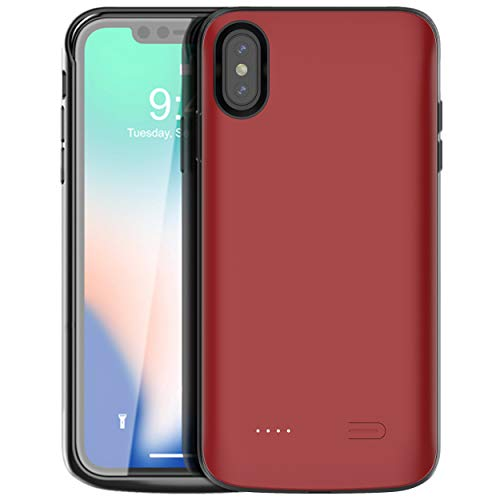 iPhone Xs Max Battery Case,Vocalol 6000mAh Portable Charger Case Power Bank Rechargeable Extended Battery Pack Protective Backup Charging Case Cover for Apple iPhone Xs Max(6.5inch). (RED)