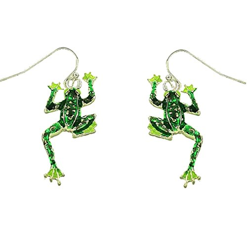 DianaL Boutique Adorable Silver Tone Frog Earrings Enameled Gift Boxed Fashion (Tone Frog)