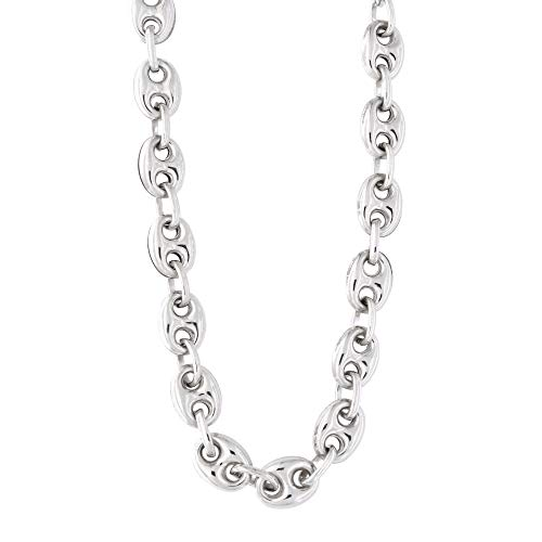 Men's Sterling Silver Rhodium Plated 7.6mm Puffed Mariner Chain Necklace Bracelet, 8 inches - Link Mariner Chain Puffed