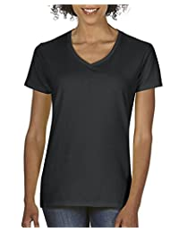 Gildan Womens Heavy Cotton V-Neck T-Shirt, 2-Pack