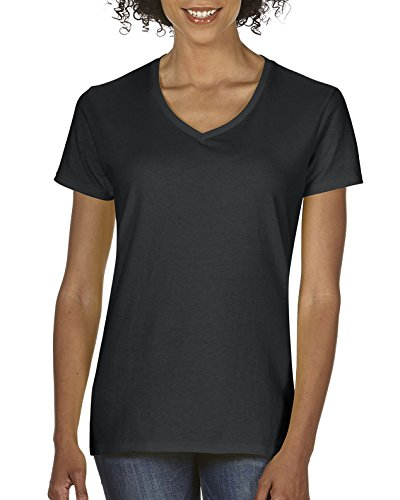 Gildan Women's Heavy Cotton V-Neck T-Shirt, 2-Pack, Black, X-Large