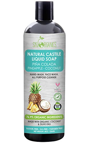 Castile Soap Organic Pina Colada by Sky Organics (8oz), Plant Based Liquid Soap and All Purpose Wash, Vegan & Cruelty-Free, Pineapple-Coconut Essential Oils Natural Body Wash Savon de Marseille