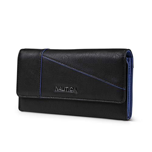 Nautica Money Manager RFID Women's Wallet Clutch Organizer (Black (Buff))