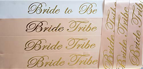 [CBC Brand] Rose Gold 7 piece Bachelorette Party Sash Set: 6 x BRIDE TRIBE in Rose Gold Letters on Light Pink, 1 x BRIDE TO BE in Rose Gold Letters on White (Party Favors for Hen Party, Bridal Shower) ()