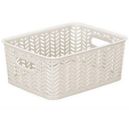 Resin Herringbone Storage Tote Basket Weave (10