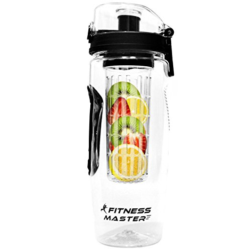 Fitness Master Fruit Infuser Water Bottle (32 Ounce) - BPA Free Plastic, Leak Proof, Lockable Lid and Rubber Grips on Infusion Bottles