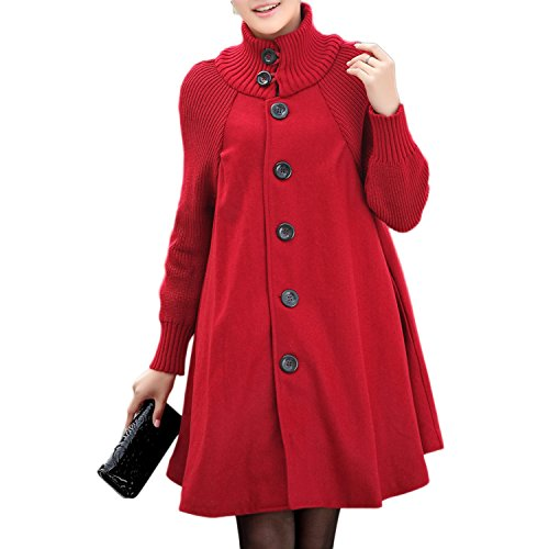 JLTPH Manteau Robe Oversize Femme Veste Pull-Over?Gilet Sweat Robe Swing A-line Unie Grande Taille Casual Sweatshirt Long Tunique Jumper Top Rouge