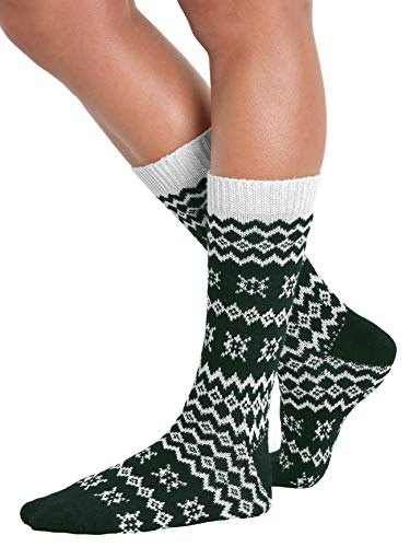 Womens Crew Socks Wool Cashmere Blend Print Black Red Hunter Green Color:: Hunter