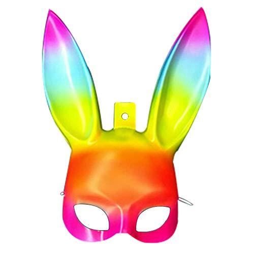YHCWJZP Easter Bunny Masquerade Men Women Rabbit Ears Half Face Mask Event Party Prop - Rainbow ()